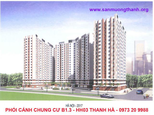 Phối cảnh tổng thể chung cư B1.3 - HH03 Thanh Hà