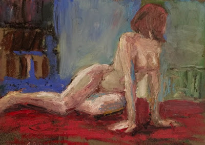 nude woman looking over shoulder on red rug that appears to be floating in air