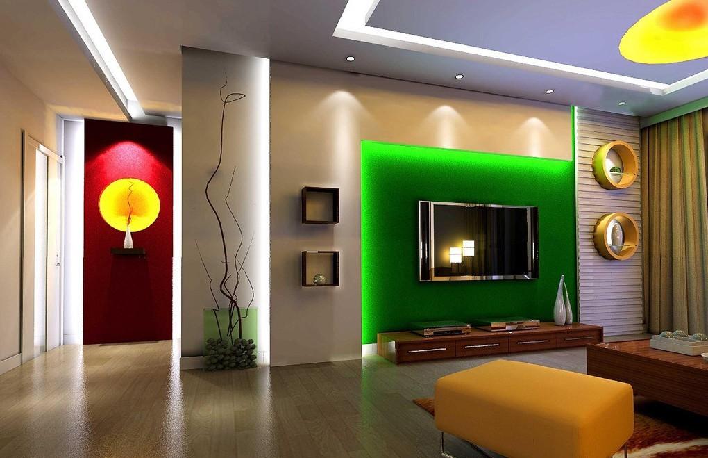 gypsum board tv wall design with led lights for modern living rooms 2019. Black Bedroom Furniture Sets. Home Design Ideas