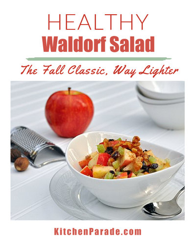 Healthy Waldorf Salad ♥ KitchenParade.com, my makeover recipe, reducing calories and Weight Watchers points by almost 75%.