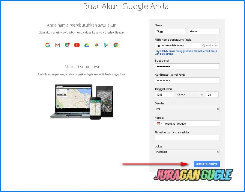 isi formulir pendaftaran akun google