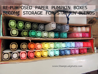 storage for Stampin' Blends Markers made from an old Paper Pumpkin Box