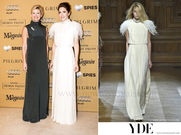 Crown Princess Mary chose a Ole Yde dress for tonight's the awards ceremony. The OLE YDE dress is from the Spring -Summer-2015 collection.