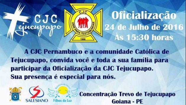 Evento: Comunidade de Jovens Cristãos promove Festa de Oficialização da CJC Tejucupapo