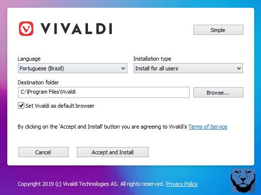 Processo de instalação do navegador Vivaldi