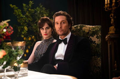 "Photo: Matthew McConaughey and Michelle Dockery star as Mickey and Rosalind Pearson in Guy Ritchie's 2020 film ""The Gentlemen."""