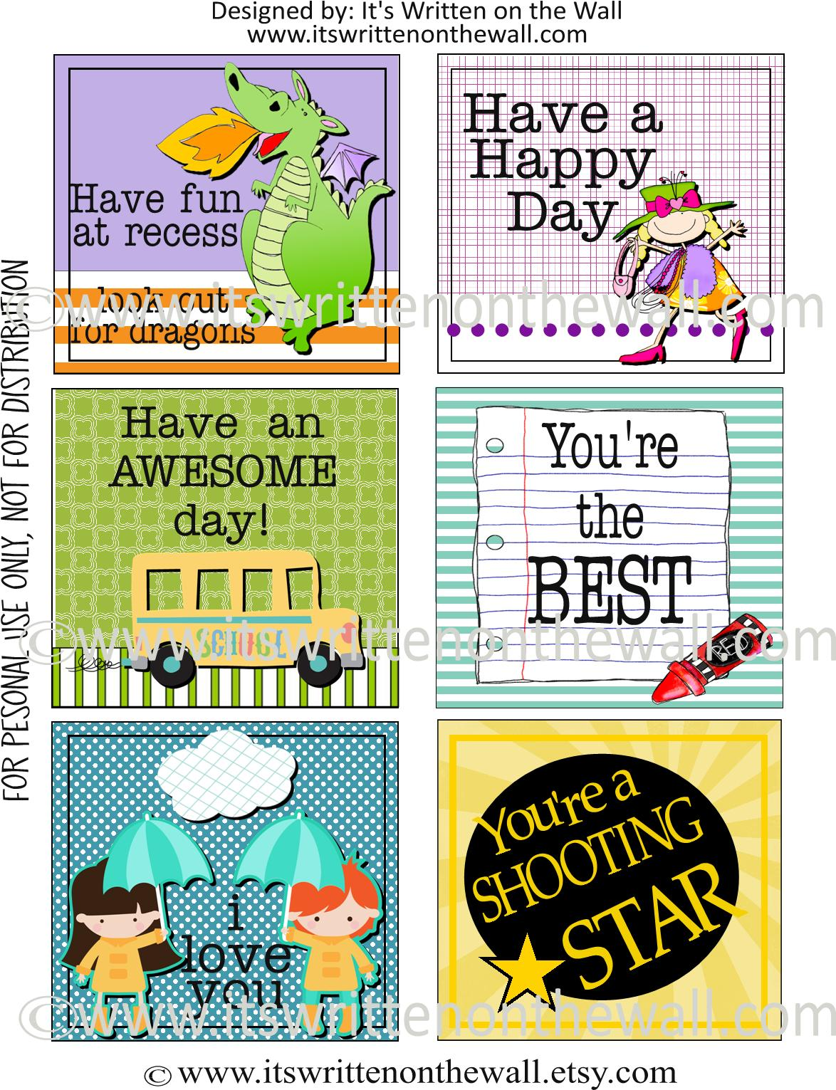 Free Printables Lunchbox Notes For Kids 8 Sheets