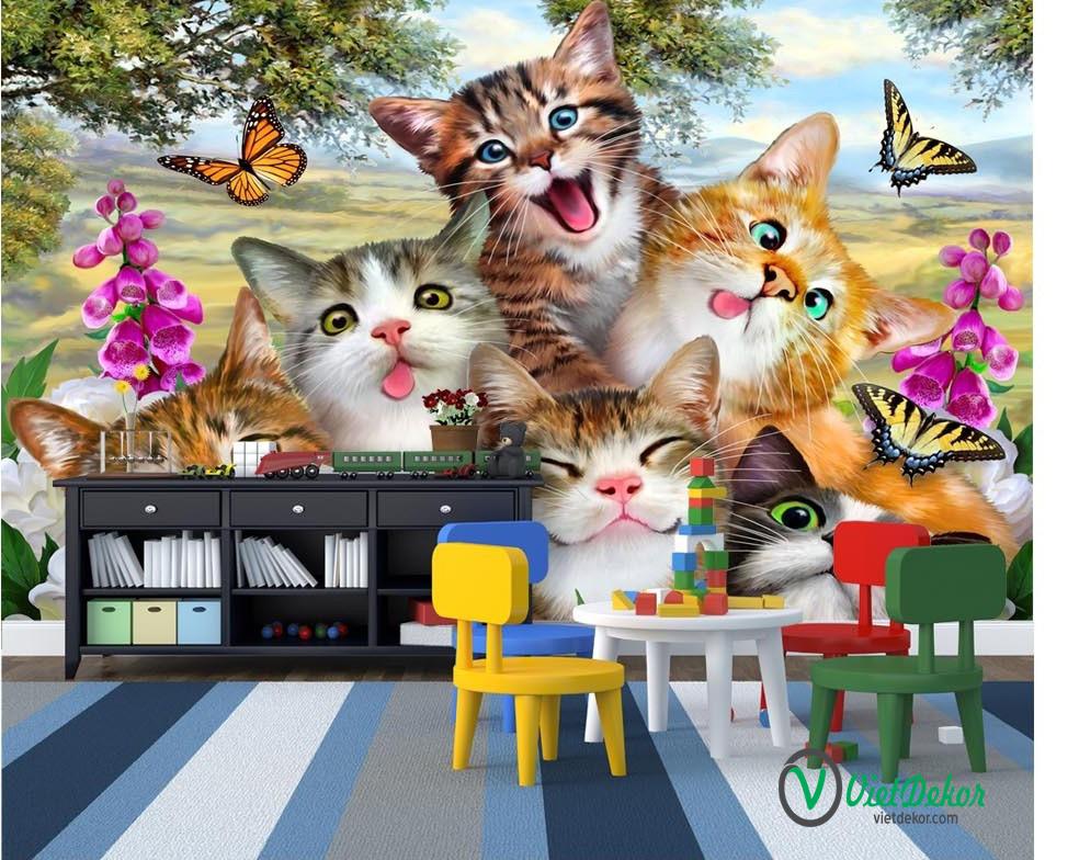 Tranh dán tường 3d phong cảnh hoa bướm và những chú mèo xinh