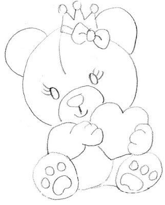 risco pintura ursinha
