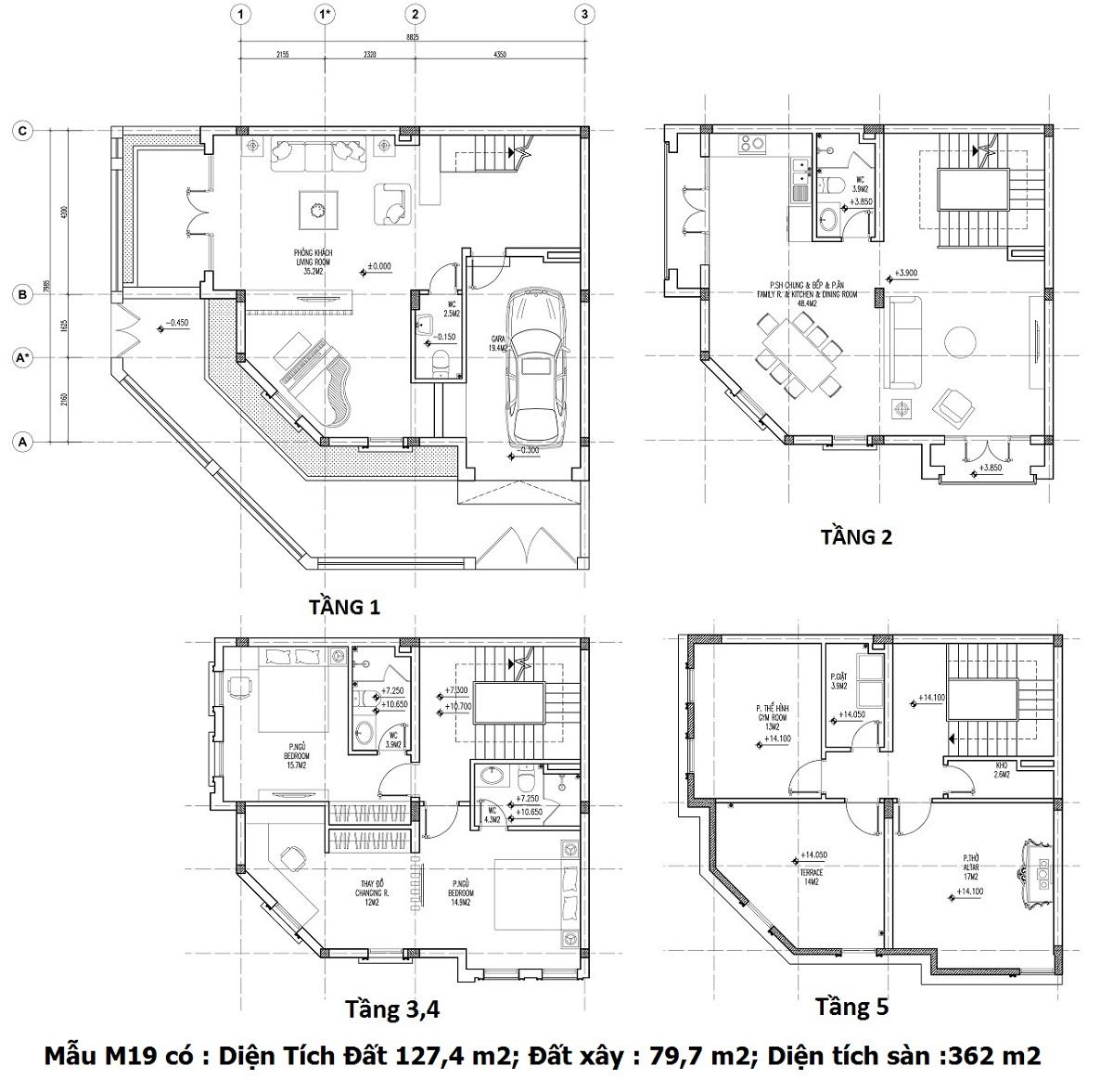 Mẫu thiết kế M19 Shophouse Larissa Đại Kim