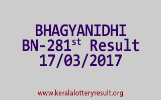 BHAGYANIDHI Lottery BN 281 Results 17-3-2017
