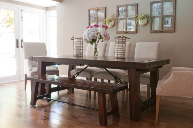 Fabulous Flowers on the Wooden Dining Room Tables And Chairs in Dining Room with Wooden Floor