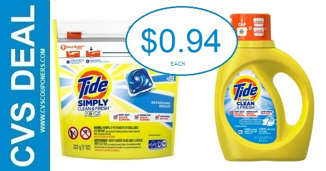 Tide Simply Detergent CVS Deal $0.94 7-5-7-11