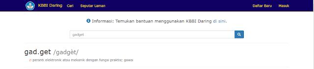 Pengertian gadget menurut KBBI daring kemendikbud