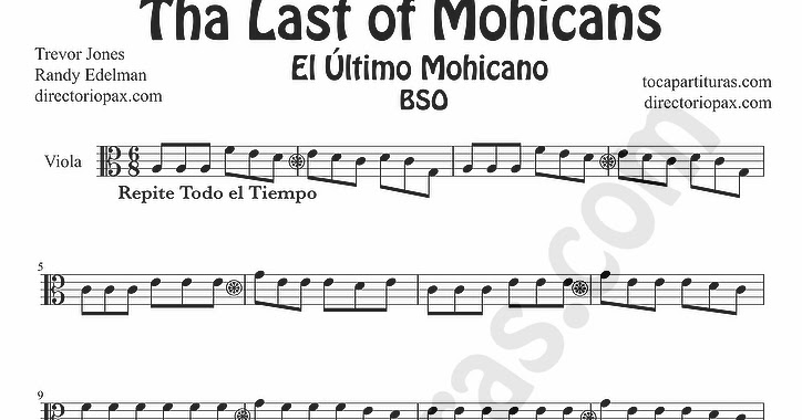 tubescore: The Last of the Mohicans sheet music for Viola