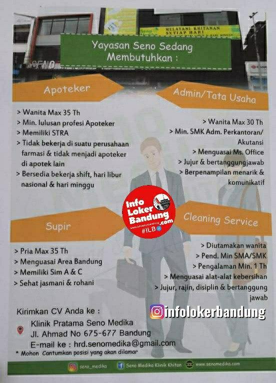 Lowongan Kerja Klinik Pratama Seno Medika Bandung September 2020