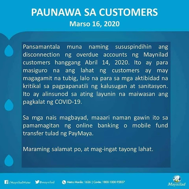 Maynilad Bills Payment Extension