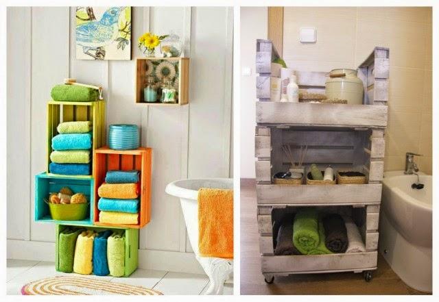 Ingeniando como hacer estantes con cajas de fruta Repisas de bano homecenter
