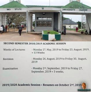 IMSU Academic Calendar For 2nd Semester 2018/2019 (Official)