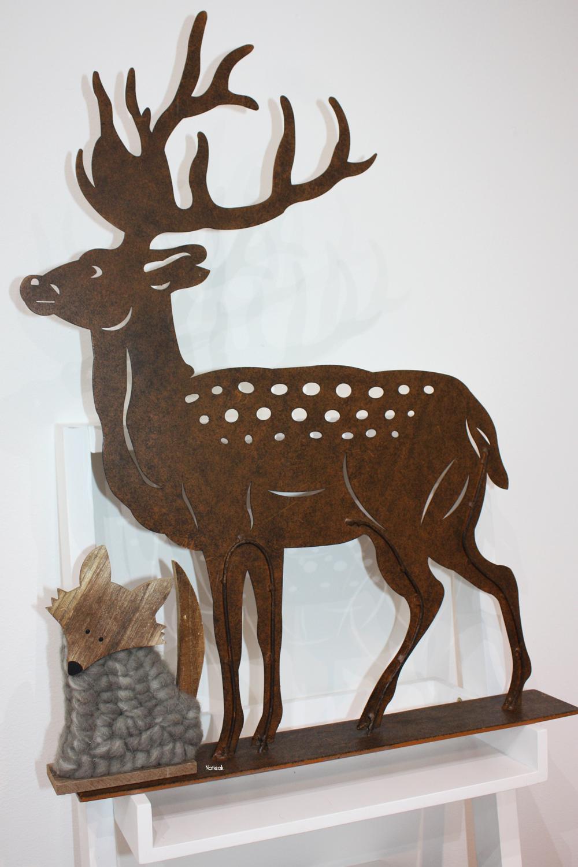 décoration cerf en métal  et renard bois et laine