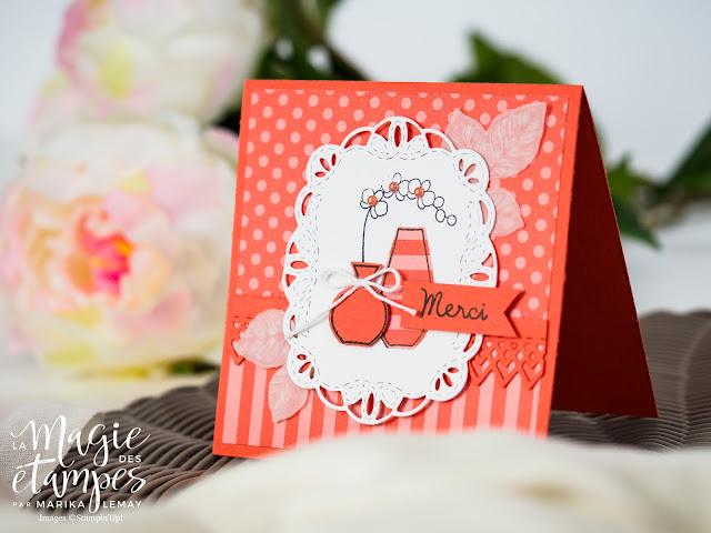 Carte de remerciement Stampin' Up! créée avec le jeu d'étampes Vases divers