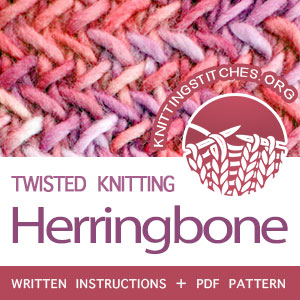 Herringbone Stitch Pattern is found in the Twist and Cable Stitches category. FREE written instructions, PDF knitting pattern. #knittingstitches #knitting #twistedknitting