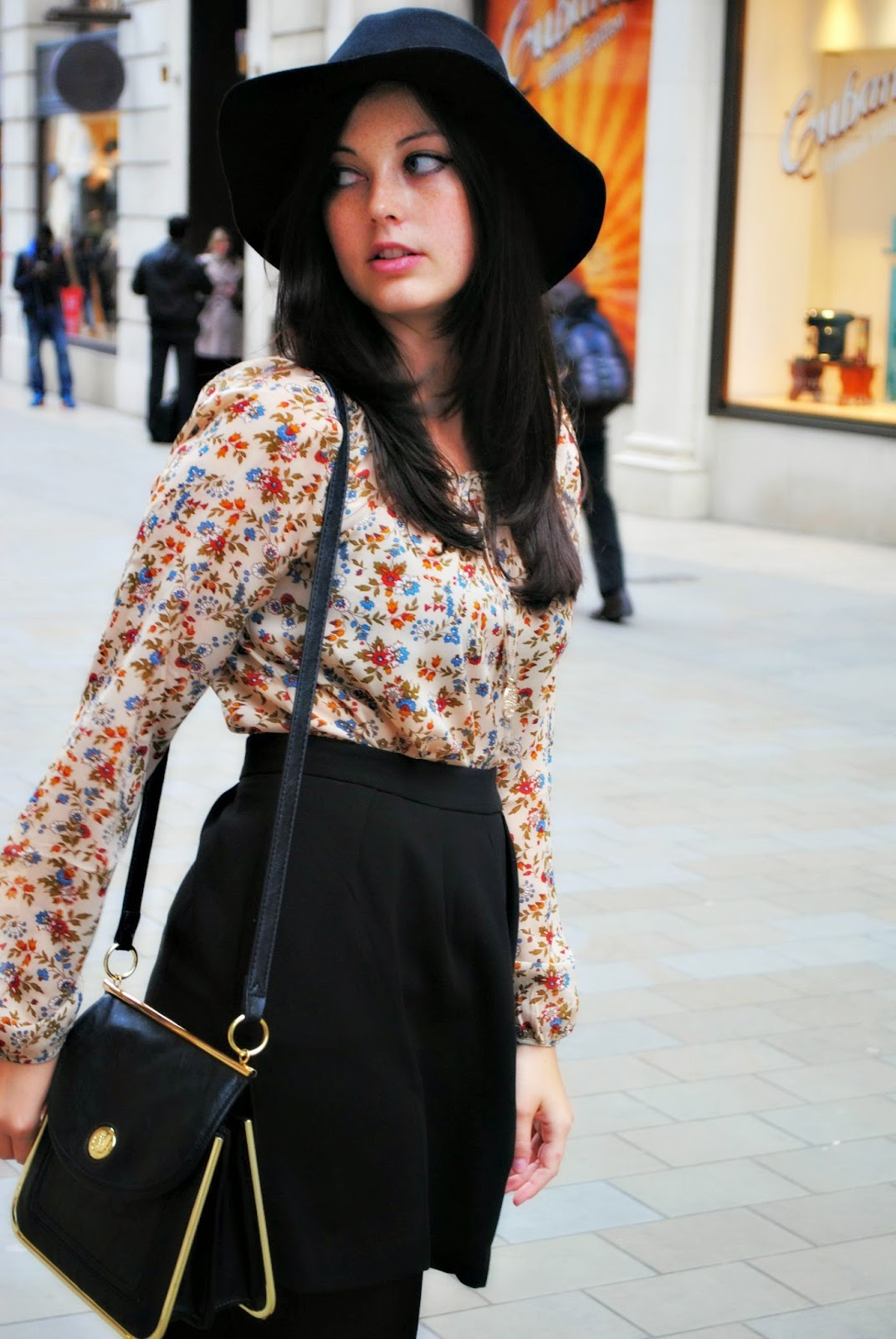 Stradivarius boho vintage blouse with black skater dress and necklace