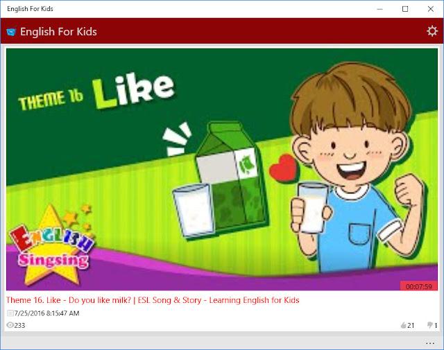 Ứng dụng English for Kids - TV Chương trình tiếng Anh cho trẻ em
