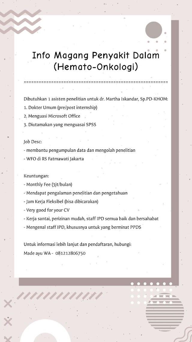 Info Magang Penyakit Dalam (Hemato-Onkologi)