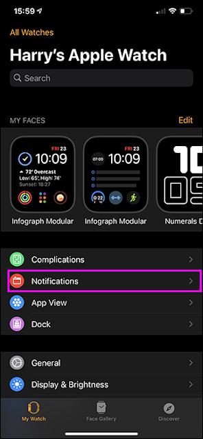 أبرز خيار الإشعارات تطبيق Apple Watch