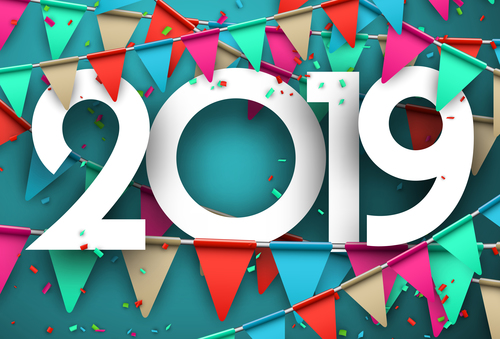 2019 new year confetti backgrounds free vector file