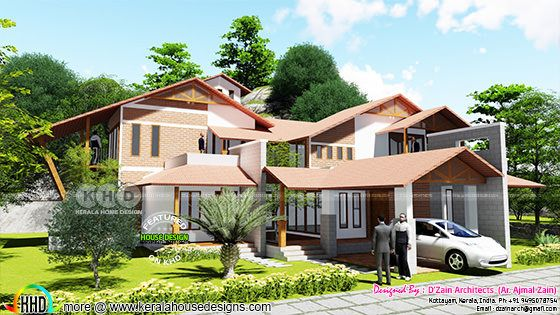 Finished house with its 3d rendering view