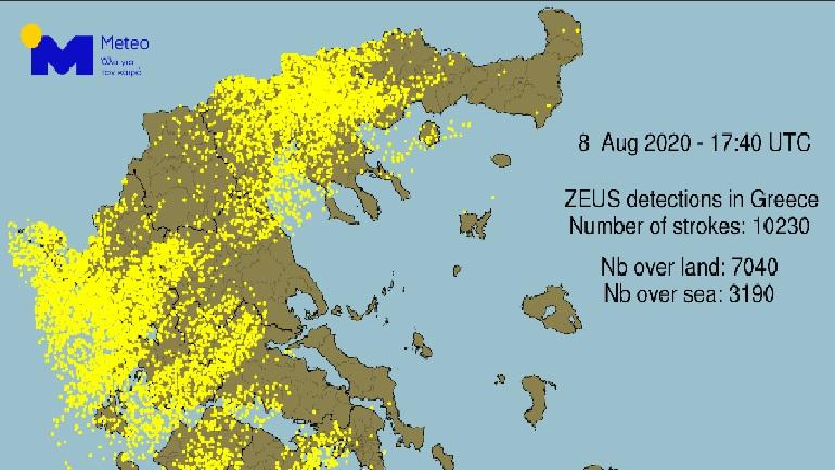Καταγράφηκαν 10.000 κεραυνοί πάνω από τη χώρα