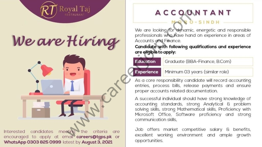 Royal Taj Restaurant Jobs Accountant