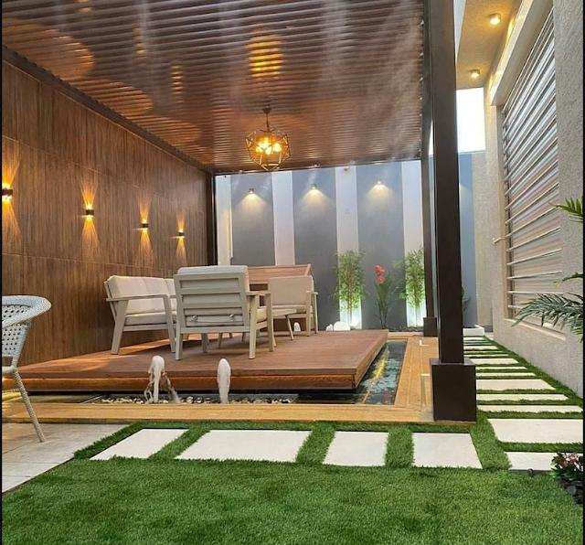 تصميم جلسات حدائق خارجية في الباحة