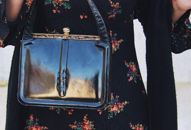 vintage black patent small purse