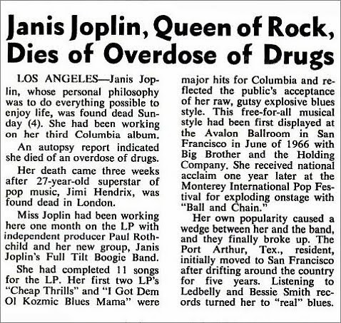 Janis Joplin Death Billboard Magazine October 4, 1970