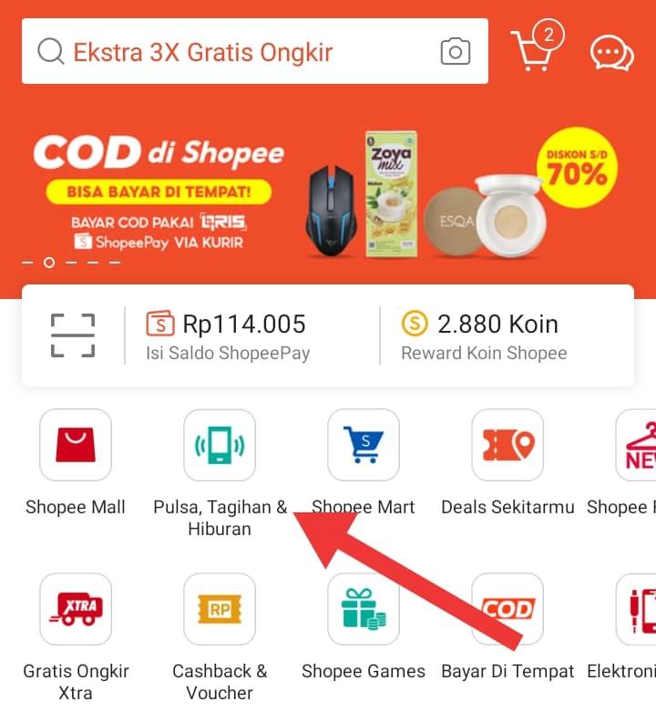 Cara Beli Pulsa dan Paket Data di Shopee Biar Dapat Cashback