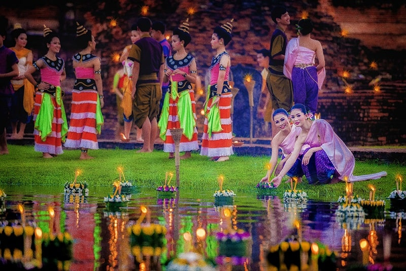 Loi Krathong Festival at Mahathat Temple, located in Sukhothai Historical Park, Sukhothai