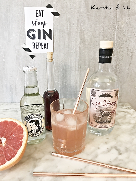Gin-Tonic mit Grapefruit und Gin Rouge