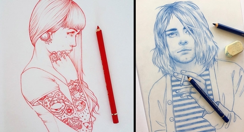 00-Rik-Lee-Blue-Red-and-Black-Line-Portrait-Sketches-www-designstack-co