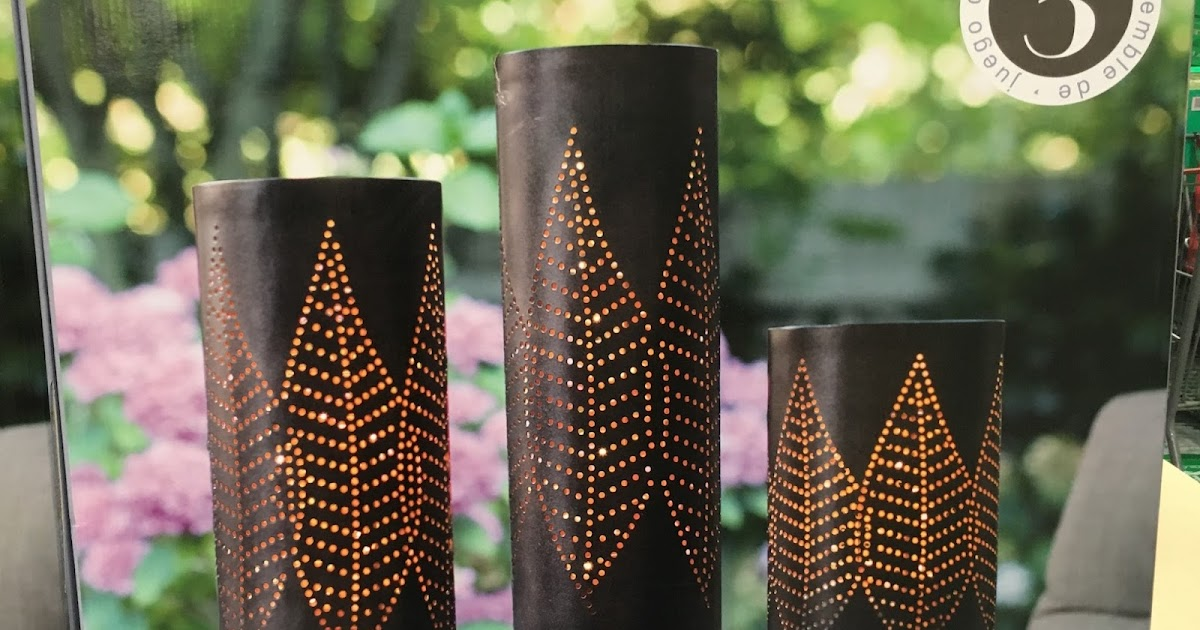 Inside Outside Garden Lighted Tabletop Pillars set of 3