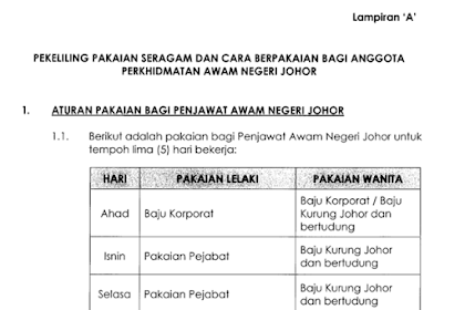 Tak Boleh Pakai Baju Berfesyen Lagi, Ikut Peraturan Pemakaian Penjawat Awam Negeri Johor 2018