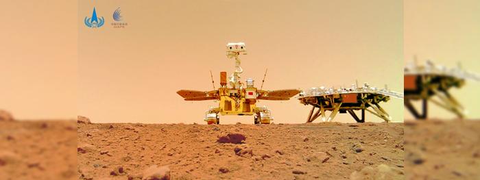 selfie de rover chines em Marte