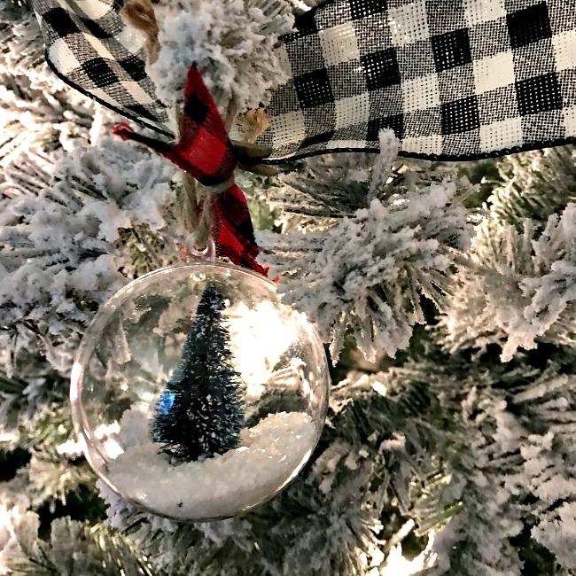 Bottle brush tree ornament on the tree