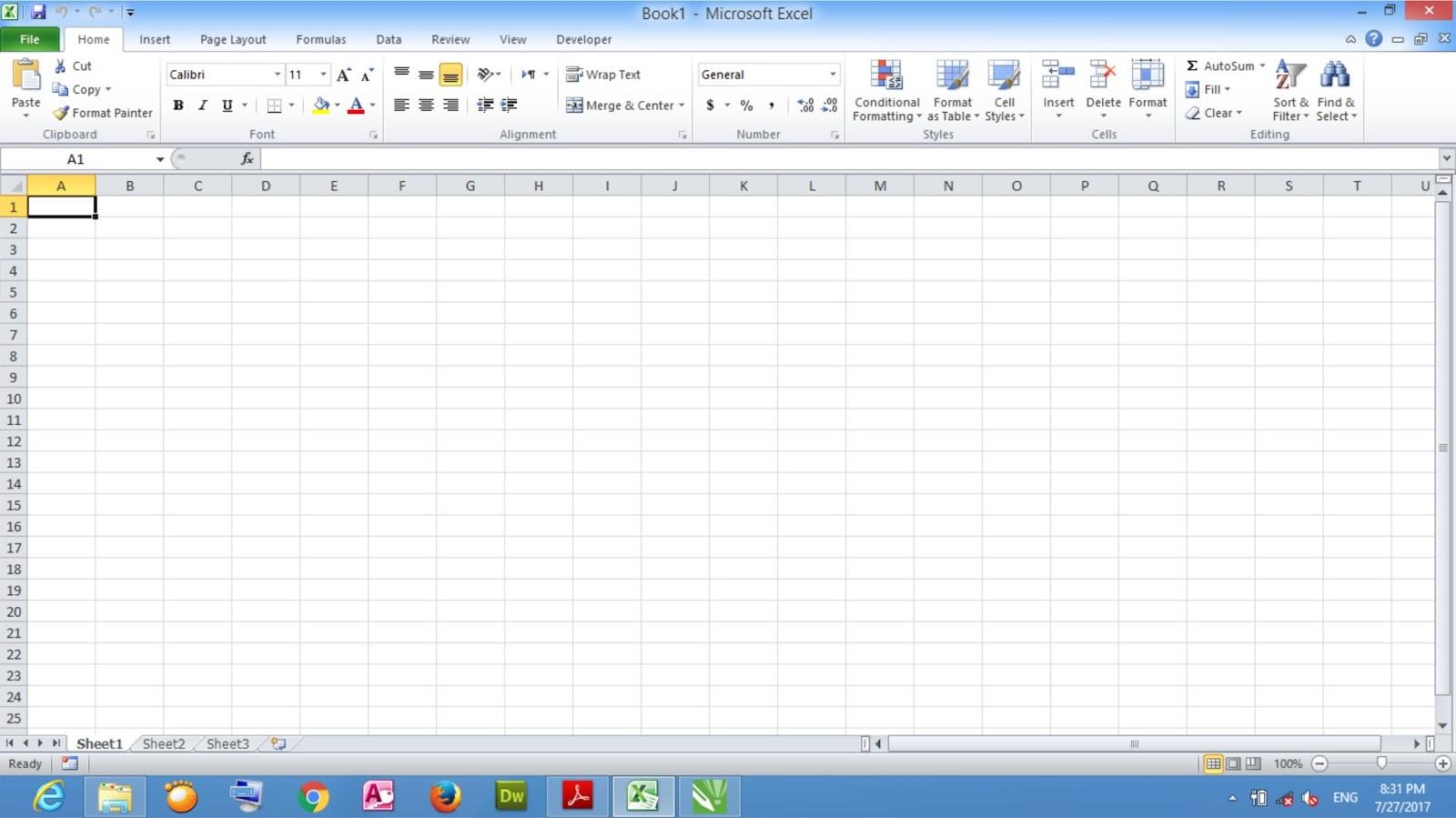 Membuat Dokumen Worksheet Baru Dengan Excel