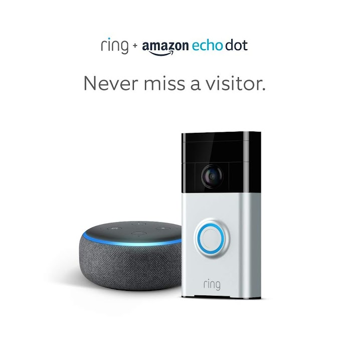 AMAZON -  Ring Wi-Fi Enabled Video Doorbell in Satin Nickel with Echo Dot 3rd Gen