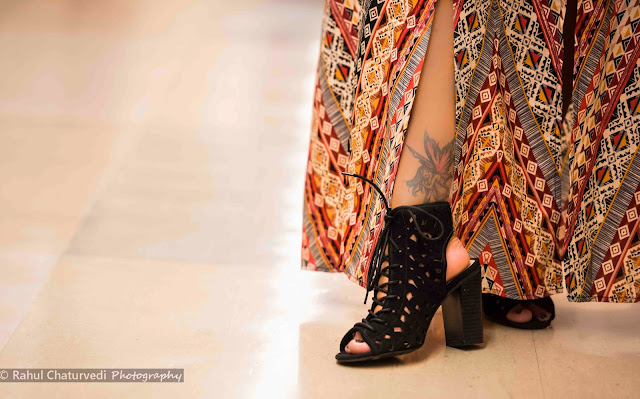 Ankle tatoos, black block heels, Bohemian style, Bohemian long dress, How to dress up in Bohemian style, Girl in long dress, Seattle fashion blogger, Ananya Kiran