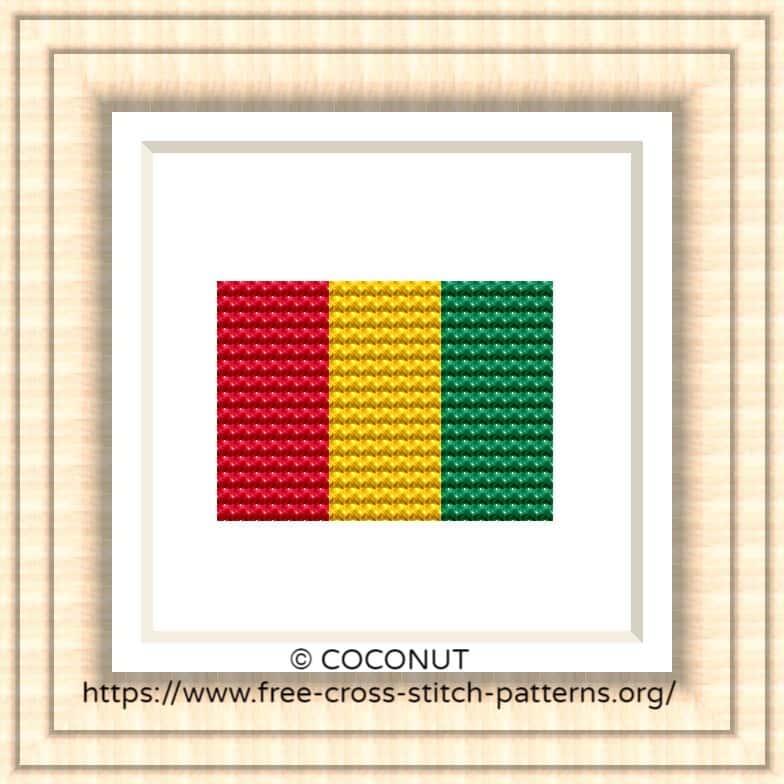 NATIONAL FLAG OF GUINEA CROSS STITCH CHART