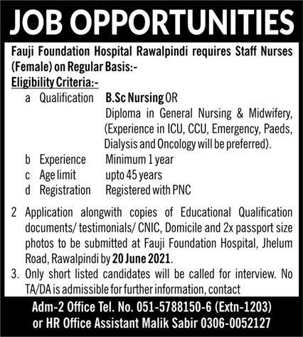 Fauji Foundation Hospital Rawalpindi Jobs 2021 in Pakistan